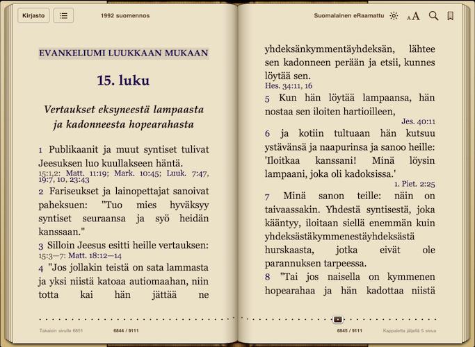 Luukkaan evankeliumi eKirjana - 1938 suomennos